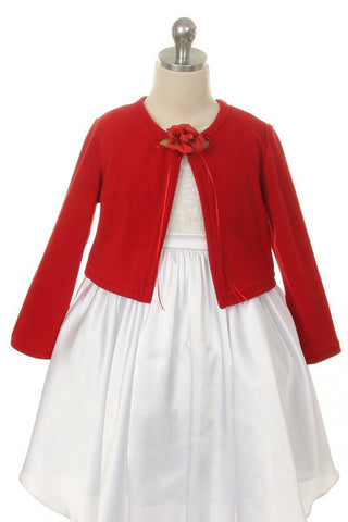 Girls' Red Long Sleeve Bolero Jacket - Oasislync