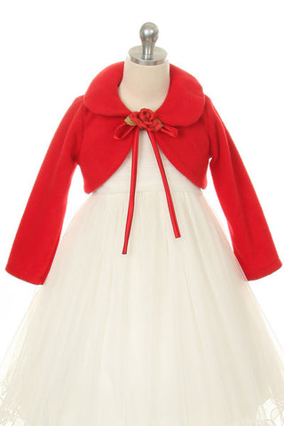 Girls Red Long Sleeve Velvet Bolero Jacket - Oasislync