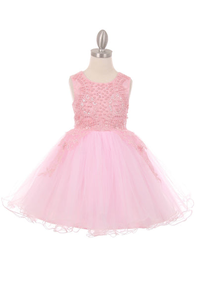 Girls 3D Pearl Beaded Flower Tulle Dress in Pink