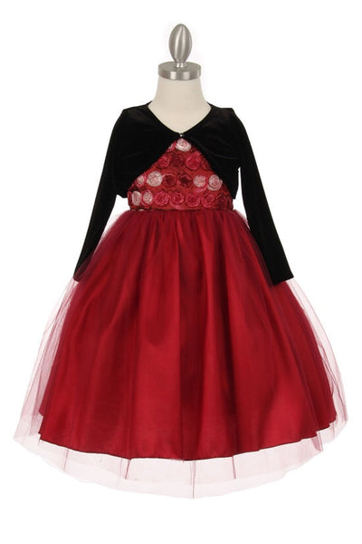 Multi Tone Taffeta Tulle Dress with Bolero In Burgundy - Oasislync