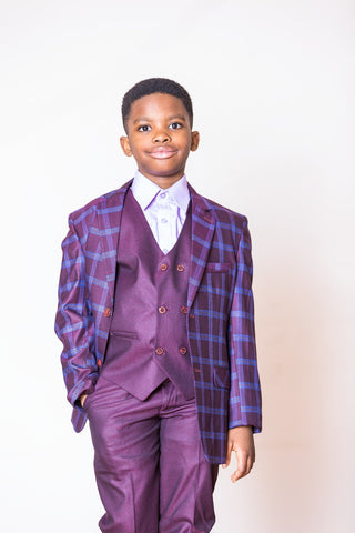 Boys 3 Piece Suit in Moron With Blue Details - Oasislync
