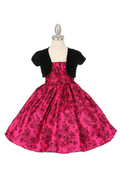 Elegant Glitter Flower Flocking Taffeta Dress with Stretch Velvet Bolero - Oasislync