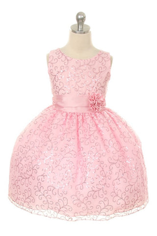 Sequin Organza Dress with Taffeta Sash and Pin-On Flower - Pink - Oasislync