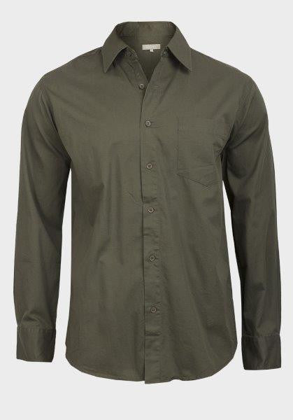 5a6fc192611 Tex Men's Dark Olive Green Casual Button-Down Shirt - Oasislync