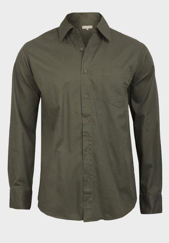 Tex Men's Dark Olive Green Casual Button-Down Shirt - Oasislync