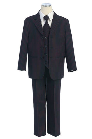 Boys' Navy Blue Suit with Red Pin Stripes, Vest, Tie and Pocket Square - Oasislync