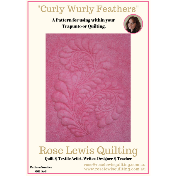 CURLY WURLY FEATHERS Quilting & Trapunto Pattern