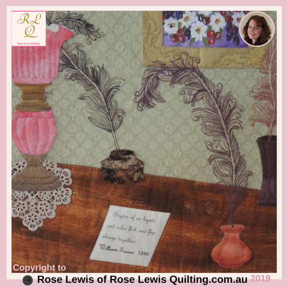 "Applique, Trapunto & Fabric Painting Quilt - Part of ""The Tranquility of a Poet's Corner"" - Rose Lewis Quilting"