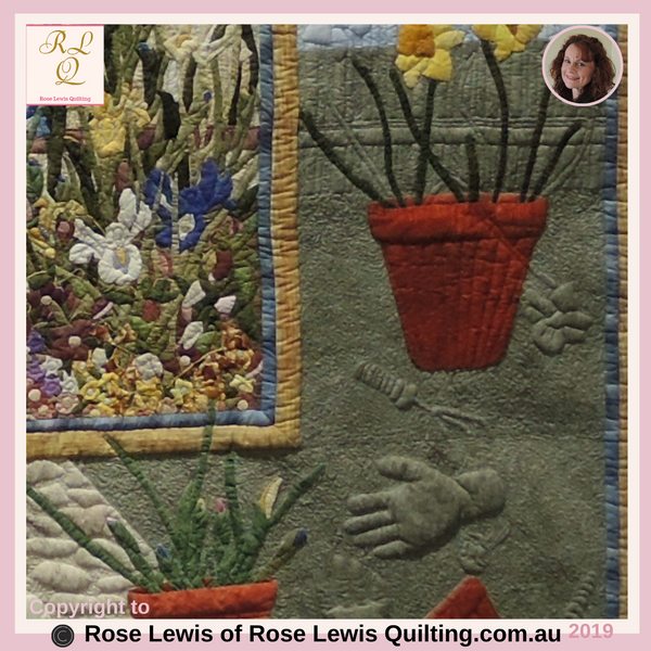Applique & Trapunto - Bottom right of Through the Garden Gate Quilt - An Award Winning Quilt - Best of Show