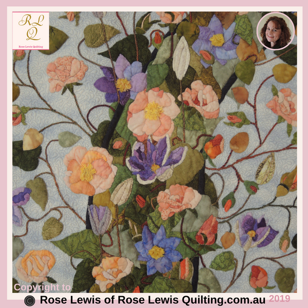 Appliqued Flowers Within the Arch of the Quilt - Through the Garden Gate Quilt - An Award Winning Quilt - Best of Show