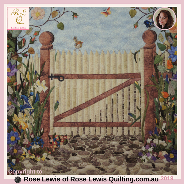 The Garden Gate- This is all Appliqued with Trapunto added. Check out the flowers & the two wrens on the gate.