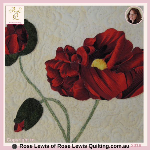 Applique & Trapunto Red Roses - From My On-Line Classes - Fabric Selector Tools On-Line Class