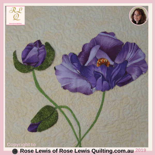 Applique & Trapunto Mauve Roses - From My On-Line Classes - Fabric Selector Tools On-Line Class