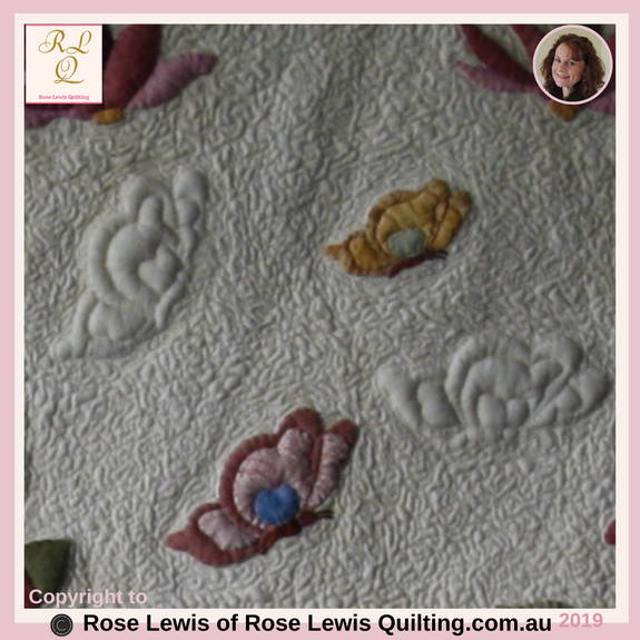 Trapunto & Applique from with A Caterpillars Dream Quilt