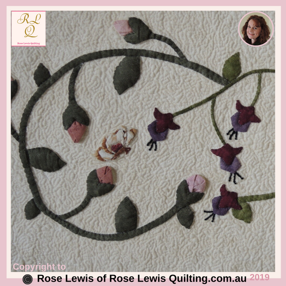 Appliqued Rose Buds & Fuchsias from A Caterpillars Dream Quilt