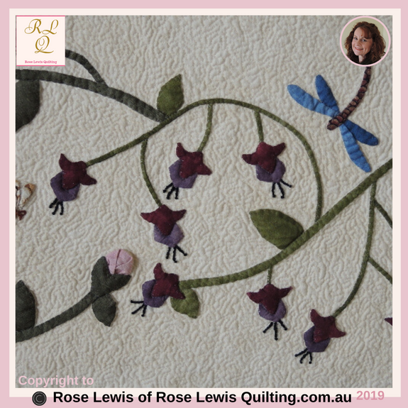 Appliqued Fuchsias, Rosebuds & Dragonfly from A Caterpillars Dream Quilt