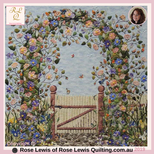 Centre of Through the Garden Gate Quilt -  Best of Show - Went Up for Judging in  Best of Australia Awards - Some of the rose's have 51 individual pieces to the one rose.