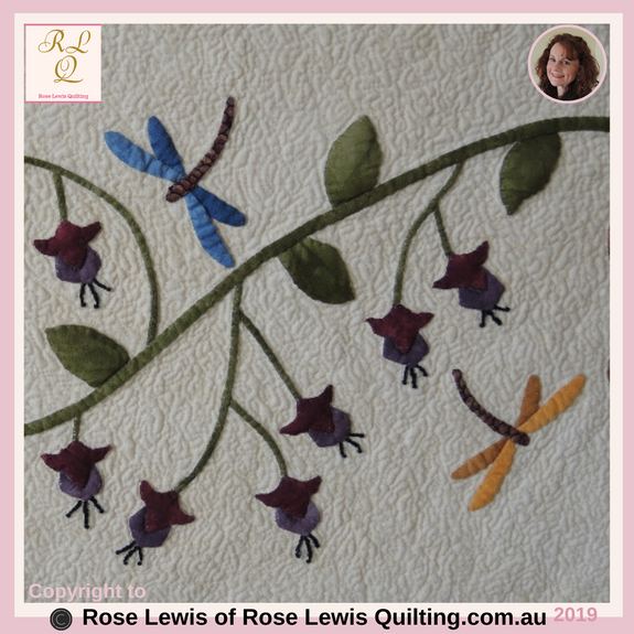 Appliqued Fuchsias & Dragonflies from A Caterpillars Dream Quilt