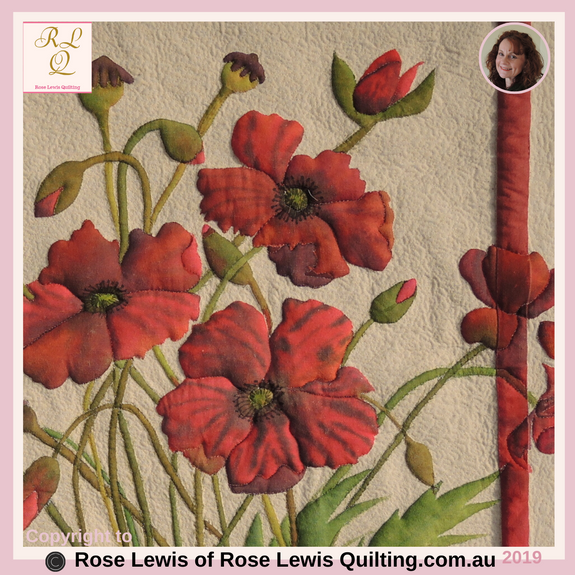 Fabric painting & Trapunto - Poppies Painted Quilt