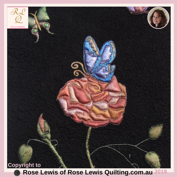 Fabric Painting & Trapunto Quilt - This is just part of this little quilt