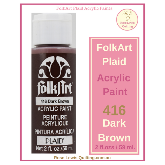 FolkArt Plaid Acrylic Paint 2 oz- 416 Dark Brown