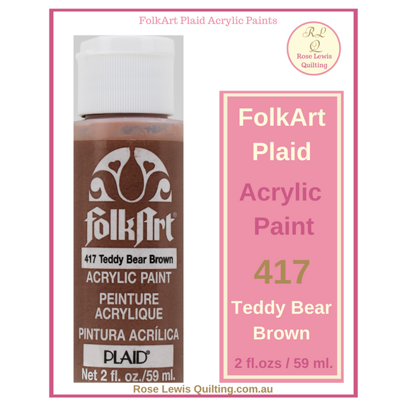 FolkArt Plaid Acrylic Paint 2 oz- 417 Teddy Bear Brown