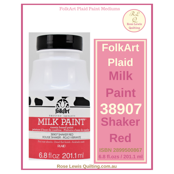 FolkArt Plaid Milk Paint 38907 Shaker Red 6.8 ozs