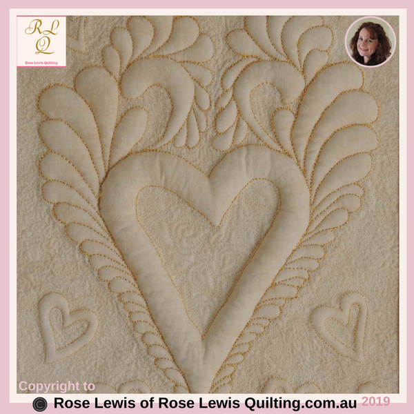 Feather Delight - Trapunto Quilting of Feathers & Hearts