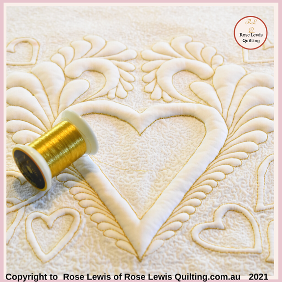 Fluttering Heats of Elegance Trapunto on-line course - courses.roselewisquilting.com.au