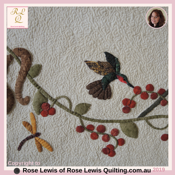 Appliqued Hummingbird & Dragonfly - Part of A Caterpillars Dream Quilt