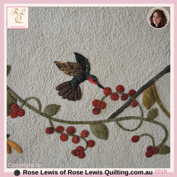 Appliqued & Trapunto'd Dragonfly & Berries - Part of A Caterpillars Dream Quilt