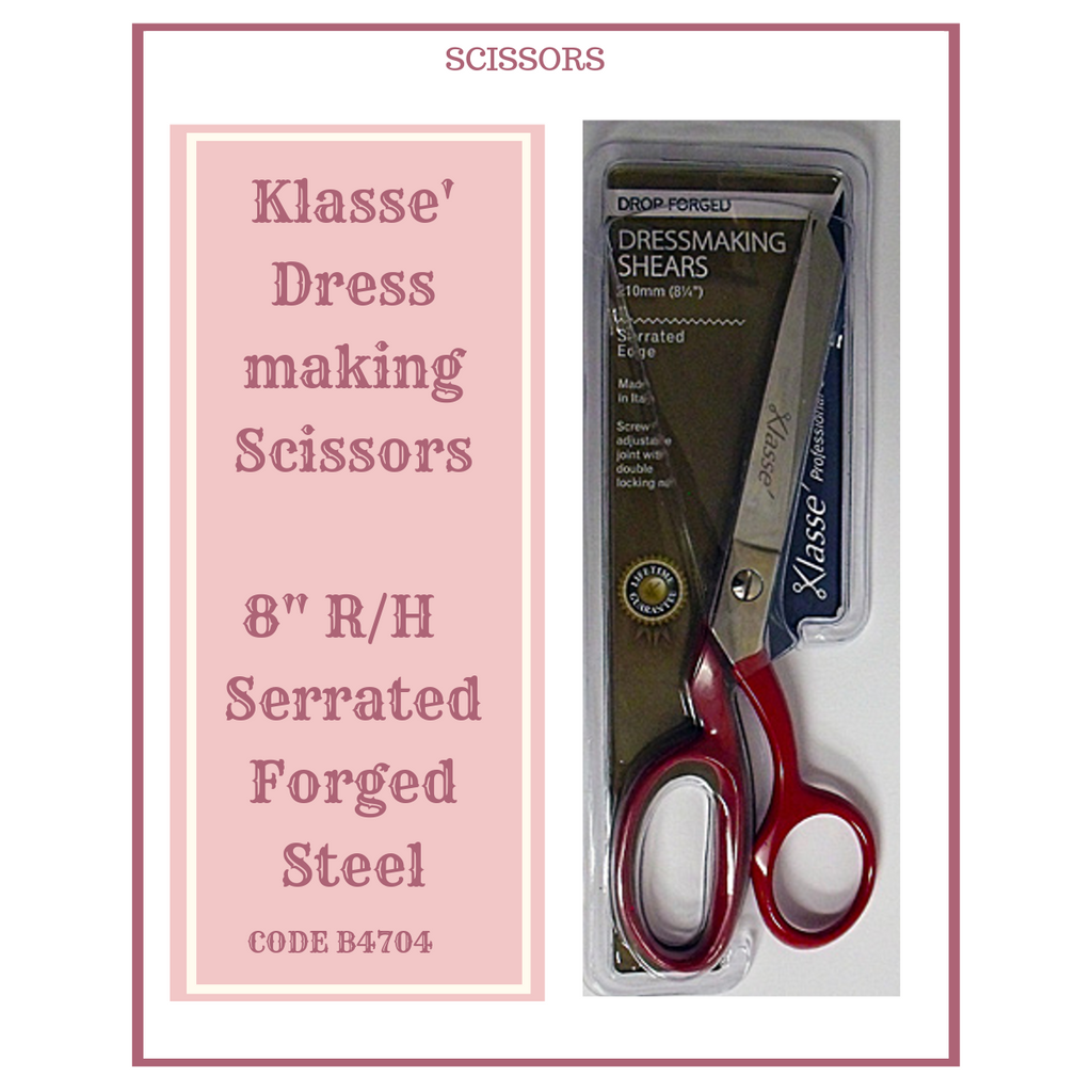 "Klasse Dress Making Scissors 8"" R/H Serrated Forged Steel B4704"