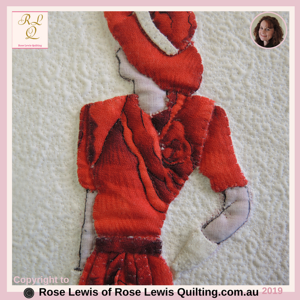 Applique & Trapunto Quilt - Lady in Red - An Award Winning Quilt