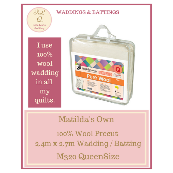 Matilda's Own 100% Wool Wadding Pre cut 2.75 mt X 2.4 mt Queen Size M320