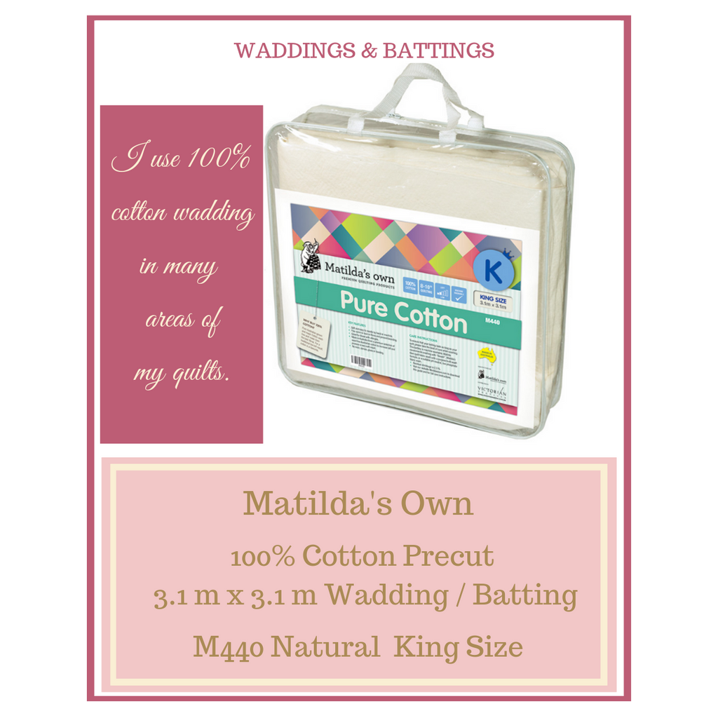 Matilda's Own 100% Cotton Pre cut 3.1 mt X 3.1 mt Wadding M440 Natural King Size