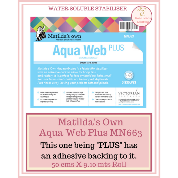 Matilda's Own Aqua Web Plus 50 cms X 9.10 mt MN663 Adhesive Backing