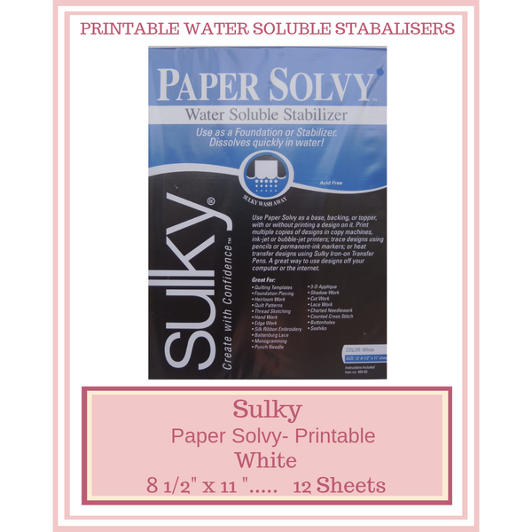 "Sulky Paper Solvy Water Soluble Stabilizer 8 1/2"" X 11"" Sheets"