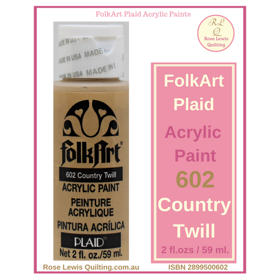 FolkArt Plaid acrylic paint 2 ozs – 602 Country Twill