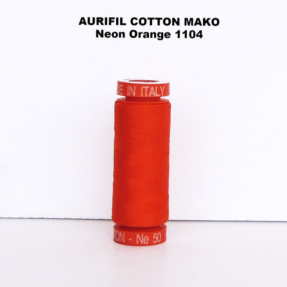 Aurifil Cotton Mako Thread Neon Orange 1104
