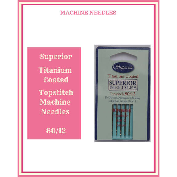 Superior Titanium Coated Topstitch Machine Needles 80/12