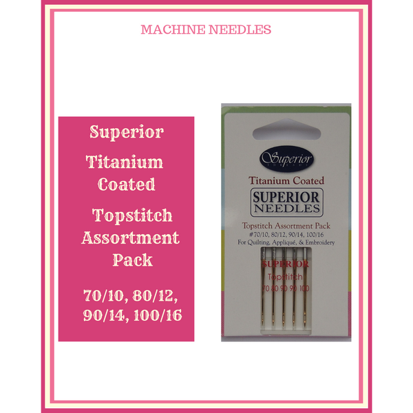 Superior Titanium Coated Topstitch Machine Needles Assorted