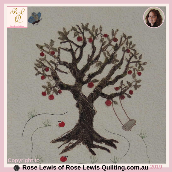 Thread Painted Quilt - Down in the Apple Orchard - This is an In-Person Class by Rose Lewis Quilting