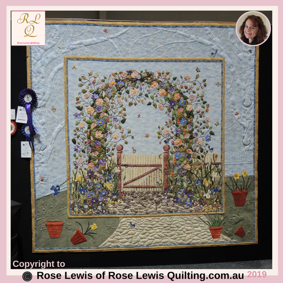 Through the Garden Gate Quilt - Applique & Trapunto - Best of Show  - Went Up in Best of Australia Awards