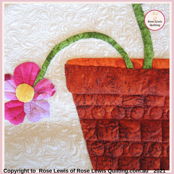 Applique with Trapunto. This is an archived class teaching piece. Rose Lewis Quilting