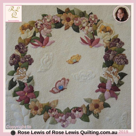 "Trapunto & Applique Wreath from with ""A Caterpillars Dream"" Quilt"