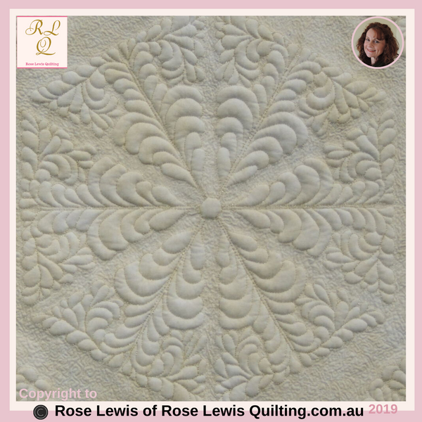 Centre of Feather Delight Trapunto Quilt - An Award Winning Quilt