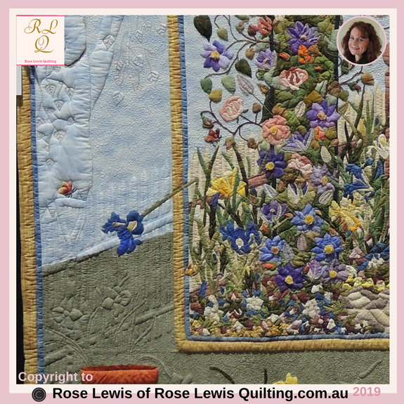 Applique & Trapunto Bottom Left Corner of Through the Garden Gate Quilt - Award Winning Quilt - Best of Show