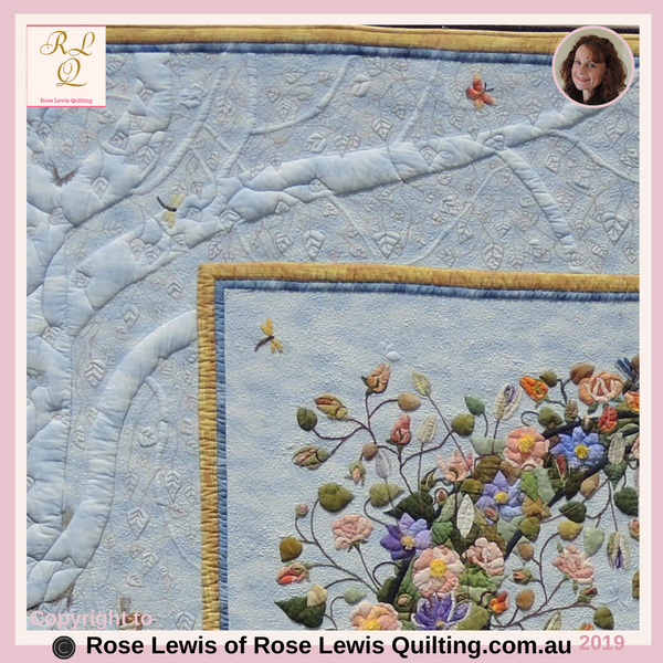 "Trapunto & Applique Top Left Border of ""Through the Garden Gate"" Quilt - An Award Winning Quilt - Best of Show"