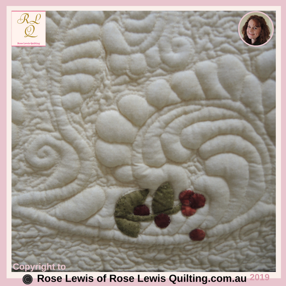 "Trapunto Quilted Feathers with Applique Berries added - From my "" A Caterpillars Dream"" quilt - Best of Show Awards"