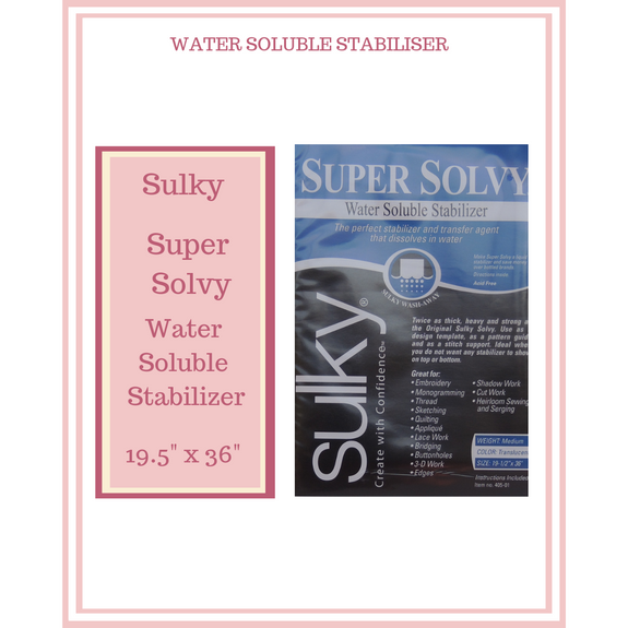 "Sulky Super Solvy Stabilizer 19 1/2"" X 36"""